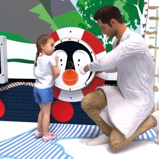Op deze afbeelding staat een wandspel Happy penguin