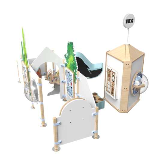 Complete speelhoek met een interactieve toren en een kralentafel