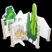 inrichting voor een kinderhoek met een kralentafel en diverse speel elementen